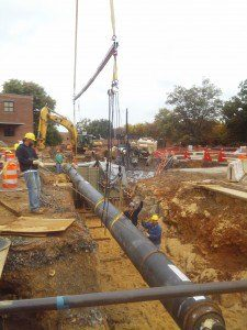 pipe pull with crane spreader bars