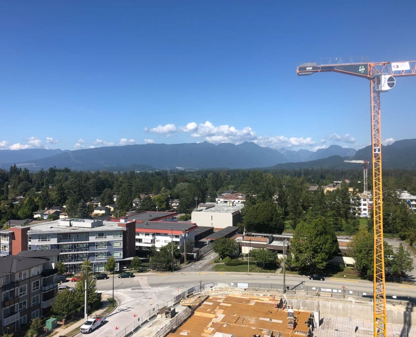 Landscape view of the job site with Bigfoot crane